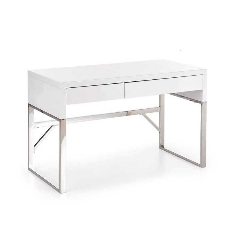 bureau design rectangulaire blanc laque albin