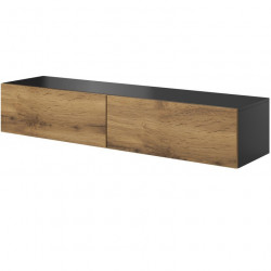 meuble tv a suspendre style chene et gris anthracite 160 cm trevise