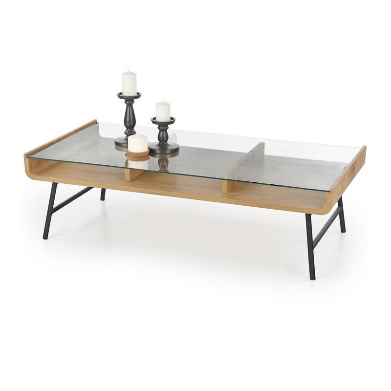 table basse rectangulaire aspect chene avec plateau verre et pieds metal noir venise