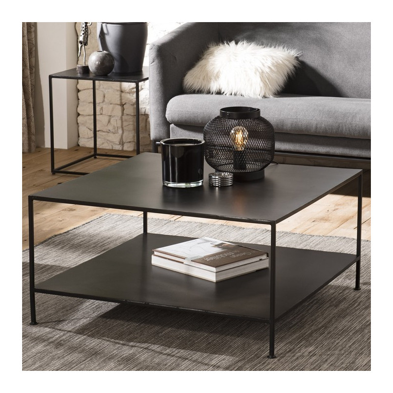 table basse carree industrielle en metal noir rhodes