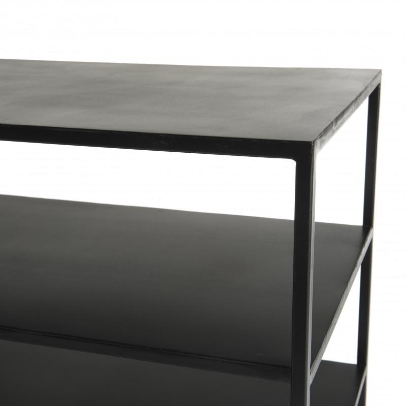 meuble tv avec deux etageres en metal noir rhodes