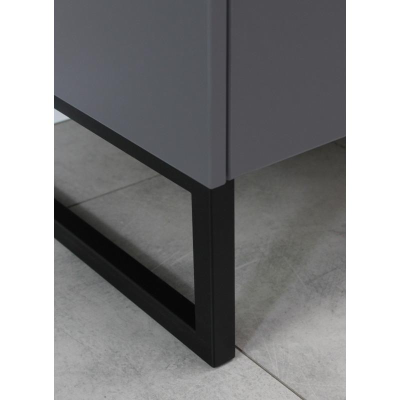 meuble tv avec deux tiroirs et niches de rangement gris graphite et pierre observer
