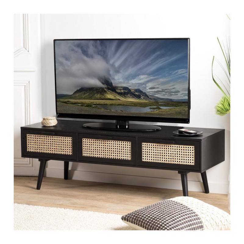 meuble tv noir cannage en rotin 3 tiroirs leonardo