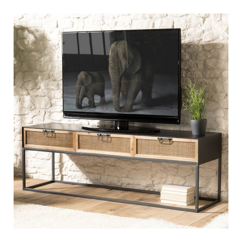 meuble tv en metal avec trois tiroirs et cannage en rotin galice