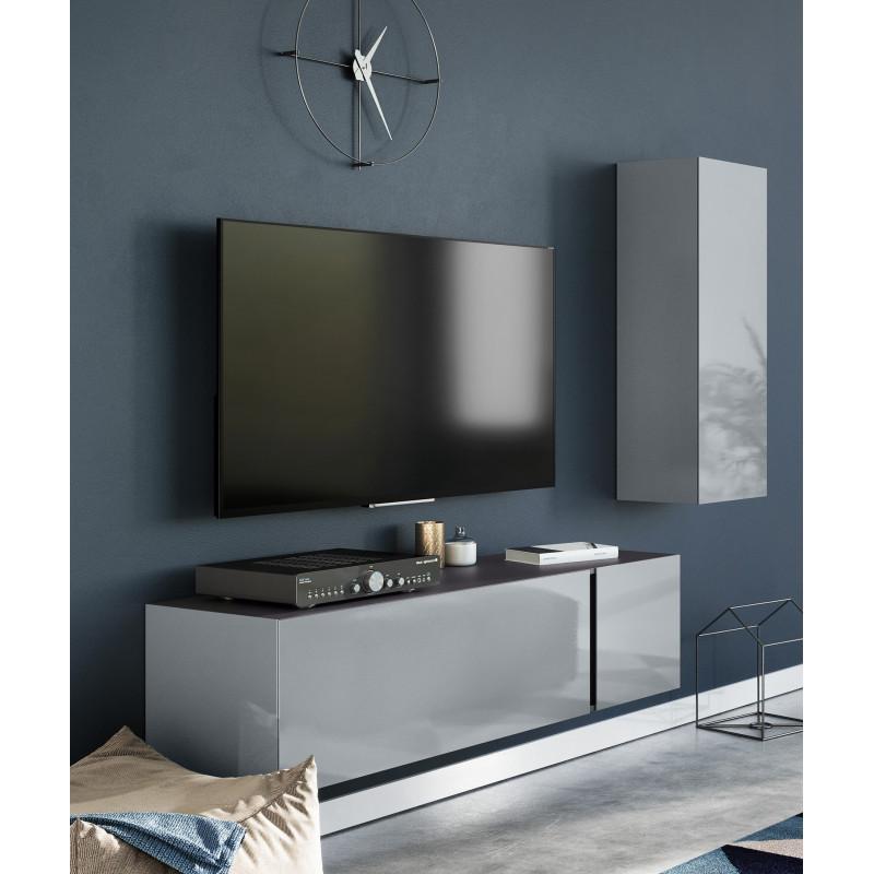 meuble tv suspendu gris en verre 140 cm tessa