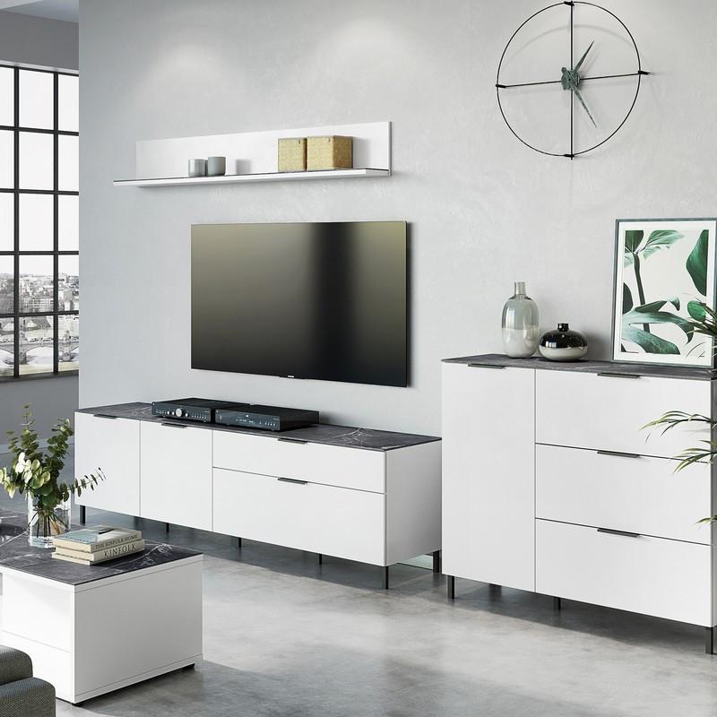 meuble tv design blanc et marbre 164x47cm marble