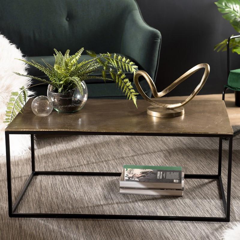 table basse rectangulaire 98x57 cm en alu dore et pieds en metal noir elegance
