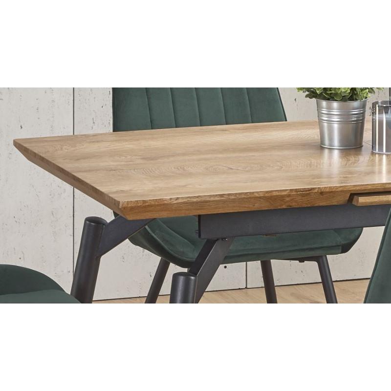 table a manger grise et chene avec rallonge soli