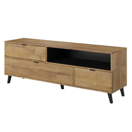 meuble tele style chene avec rangements 160cm rust