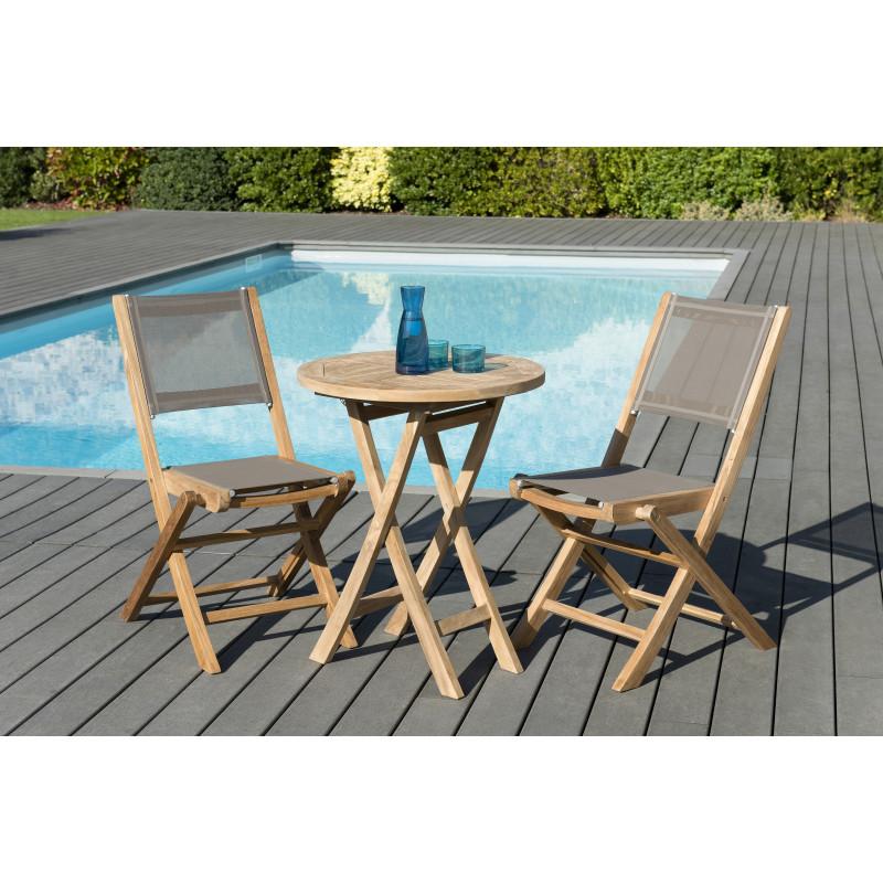 salon de jardin avec table ronde 60x60 cm 2 chaises pliantes couleur taupe en teck et textilene summer