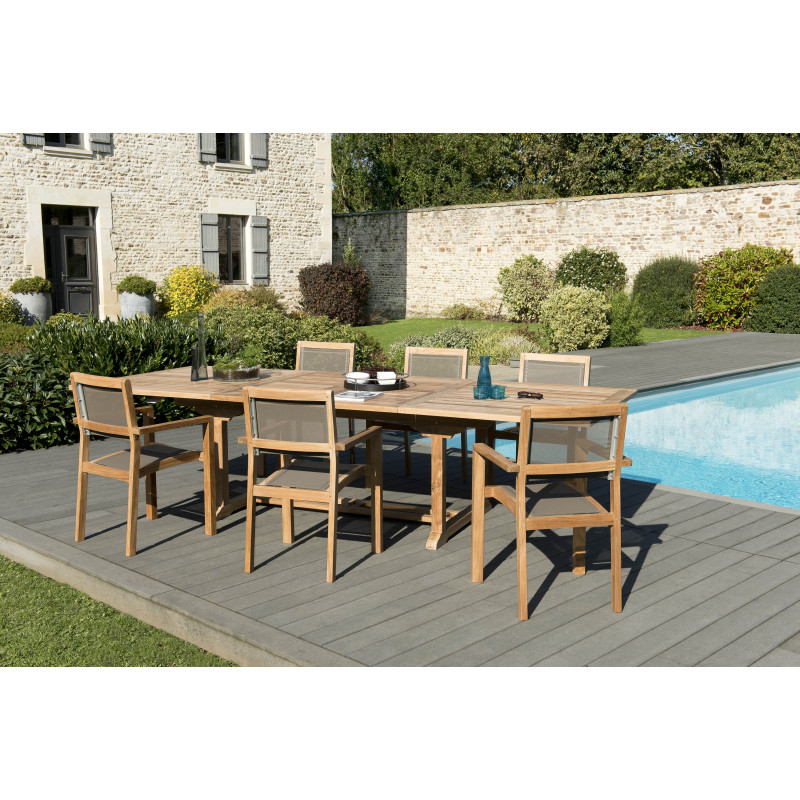 salon de jardin 6 places en teck avec table extensible fauteuils empilables textilene taupe summer