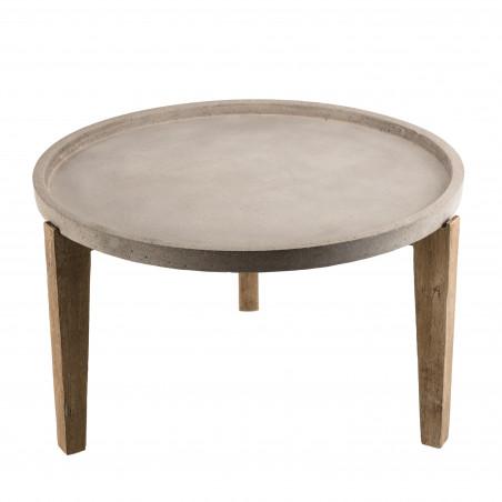 table basse de jardin ronde 81x81cm en beton bois d acacia noemie