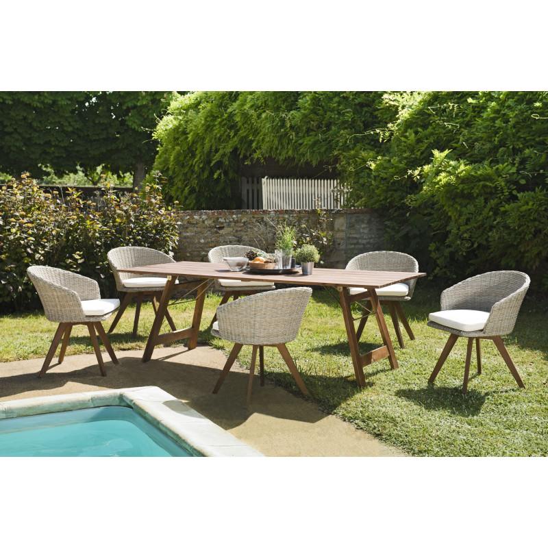 salon de jardin avec table pliante en acacia 6 fauteuils en rotin synthetique couleur naturelle marrakech