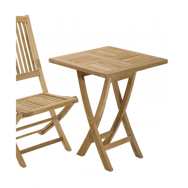 table carree pliante 60x60cm en bois de teck summer