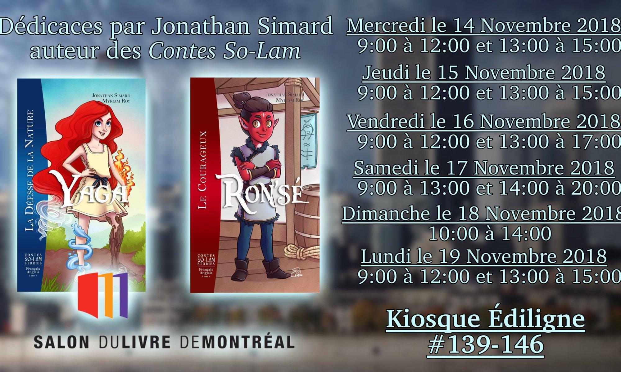 Dédicaces Salon du Livre de Montréal 2018