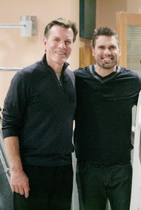 "Peter Bergman, Darnell Williams, Joshua Morrow ""The Young and the Restless"" Set CBS television City Los Angeles 01/19/12 ©sean smith/jpistudios.com 310-657-9661"
