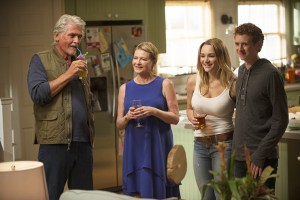 Babe Secret Phone Germs -- Tim and Heather unintentionally make things incredibly awkward for Tyler when he brings his gorgeous new girlfriend, Clementine (Hunter King), to meet the family. Also, Matt and Colleen are caught canoodling at the office by their obnoxious co-worker, Will (Ken Marino), Jen and Greg vow not to become germaphobes, and John buys Sophia a cell phone behind her parents' backs, on LIFE IN PIECES, Monday, Oct. 19 (8:31-9:00 PM, ET/PT) on the CBS Television Network. From left, John (James Brolin), Joan (Dianne Wiest), Clementine (Hunter King) and Tyler (Niall Cunningham), shown. Photo: Neil Jacobs/CBS ©2015 CBS Broadcasting, Inc. All Rights Reserved