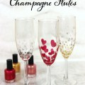 Use nail polish to create festive champagne glasses works great with