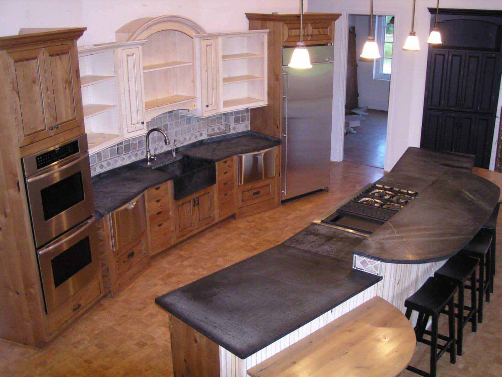 soapstone kitchen handles for drawers countertops aged