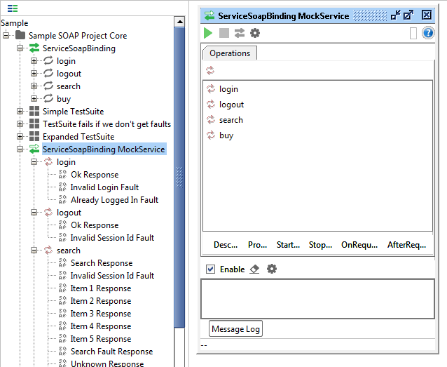 Opened mock service in SoapUI