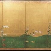 時代 金地小菊図 四曲一双 /4panel screen w/chrysanthemum