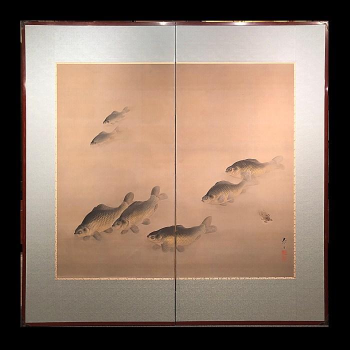 水上泰正 鮒図 二曲一隻/MIZUKAMI TAISEI 2panel screen