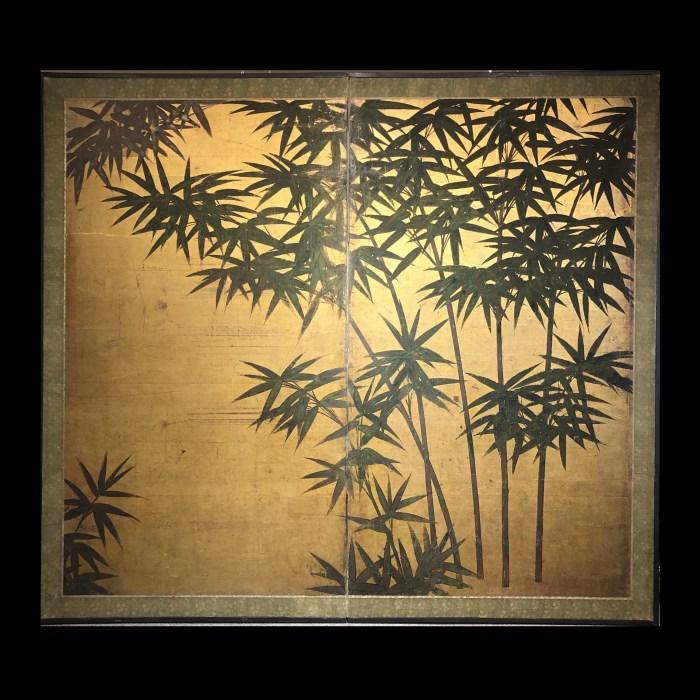 金地二曲竹図屏風/2panel screen w/bamboo