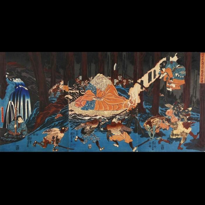 一勇斎国芳/「源牛若丸僧正坊に随武術を覚図」/ICHIYUSAI KINIYOSHI