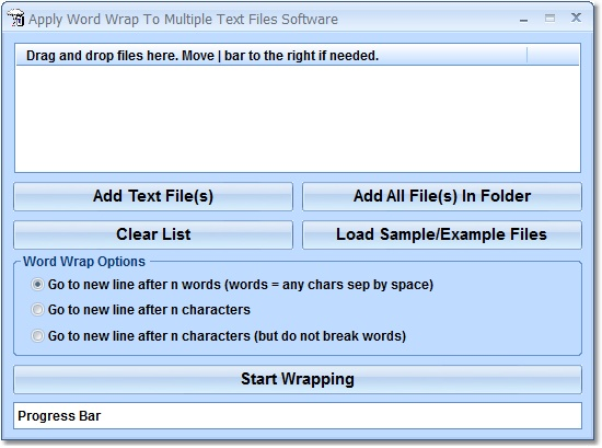 Apply Word Wrap To Multiple Text Files Software - Wrap text (insert a carriage return) by number of words by number of characters good (Software)