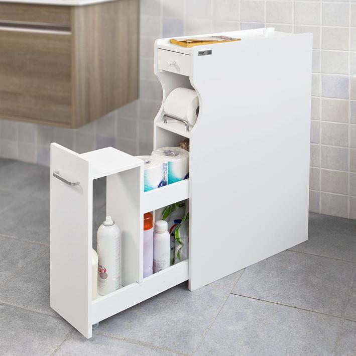 SoBuy White Wood Bathroom Cabinet Toilet Paper Storage