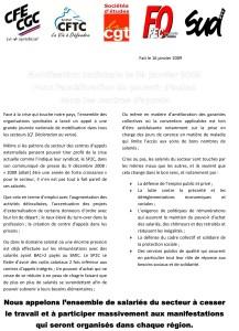 Mobilisation nationale le 29 janvier 2009 pour l'amélioration du pouvoir d'achat dans les centres d'appels