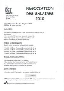 SOCOTEC : Négociation des salaires 2010