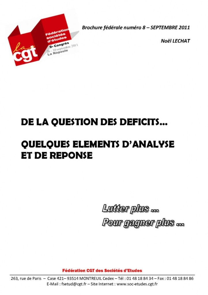 Brochure Fédérale n°8 – De la question du déficit…