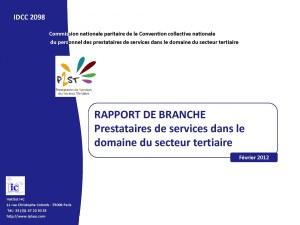 Rapport de branche prestataires Février 2012