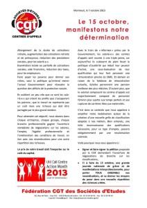 Le 15 octobre, manifestons notre détermination