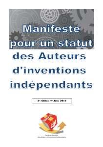 Manifeste pour un statut des Auteurs d'inventions indépendants