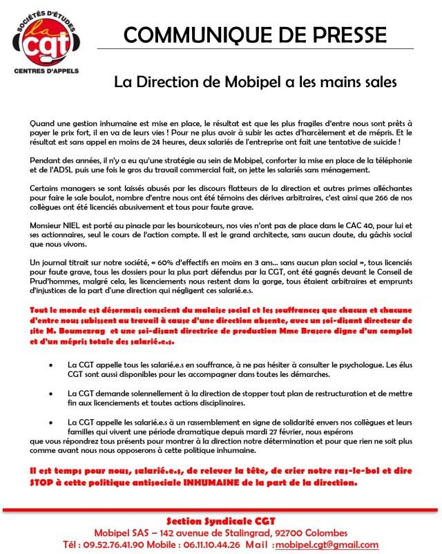 MOBIPEL : La Direction de Mobipel a les mains sales