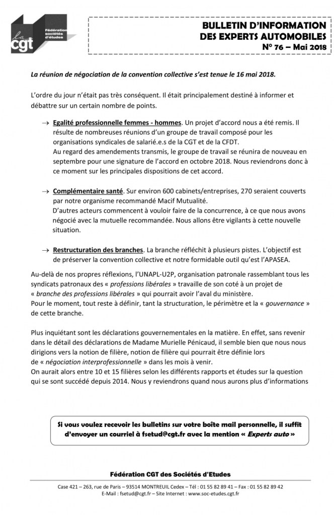 Bulletin d'information CGT n° 76 Experts autos