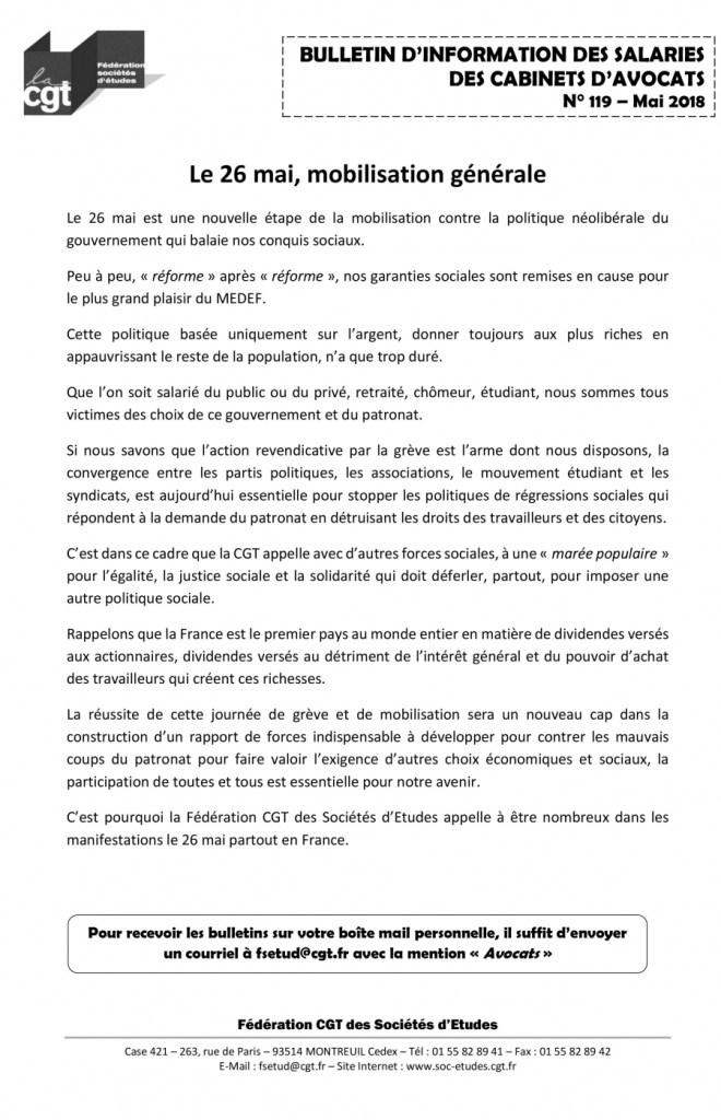 Bulletin d'information des salariés des cabinets d'avocat n°119