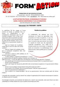 Form'Action janvier 2018 : La situation politique, économique et sociale dans l'Union Européenne et les alternatives