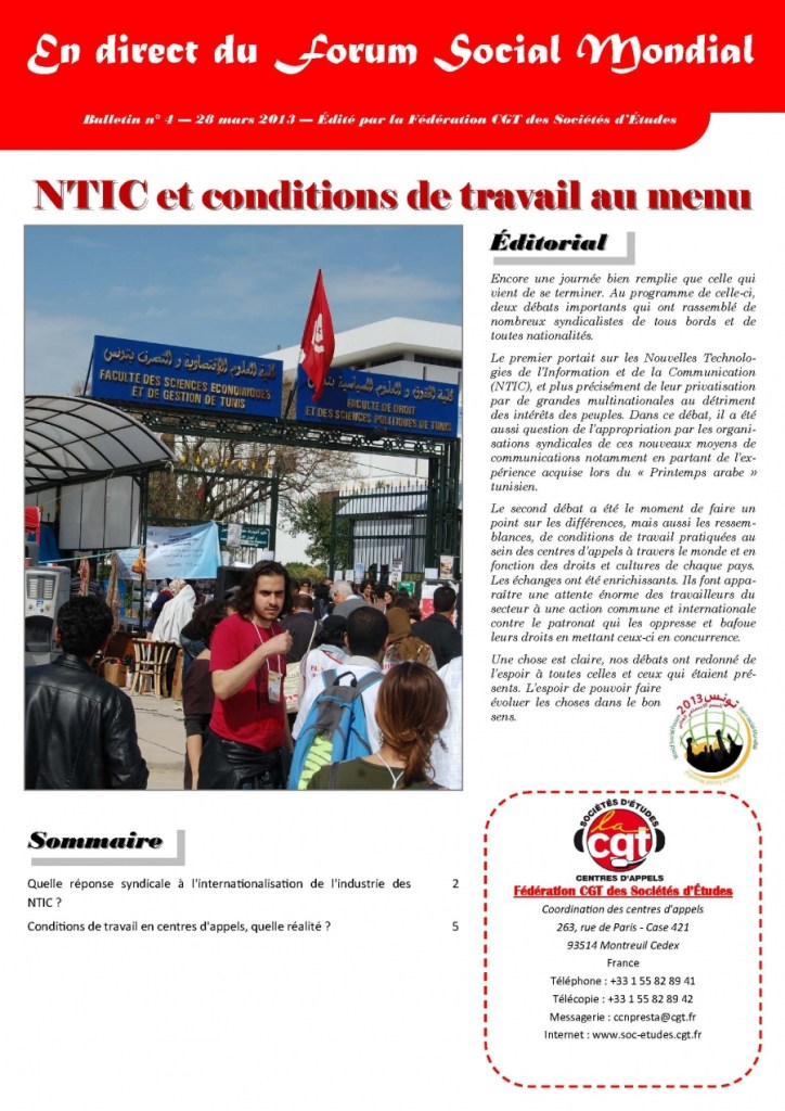 En direct du FSM n°4 : NTIC et conditions de travail au menu