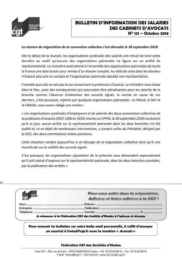 Bulletin d'information des salariés des cabinets d'avocat n°121