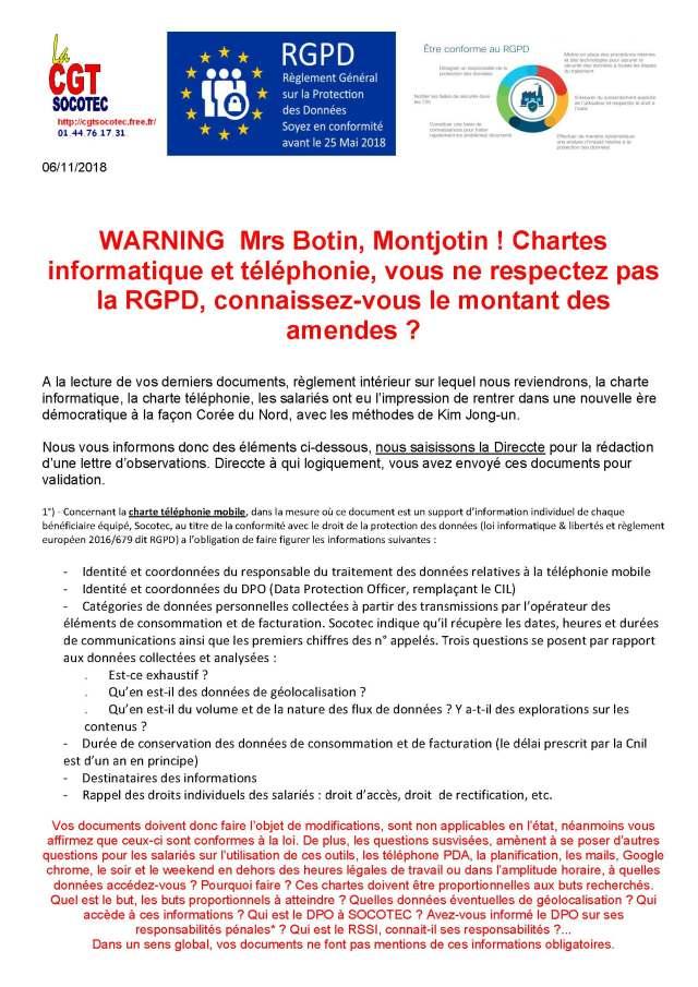 SOCOTEC : WARNING Mrs Botin, Montjotin ! Chartes informatique et téléphonie, vous ne respectez pas la RGPD, connaissez-vous le montant des amendes ?