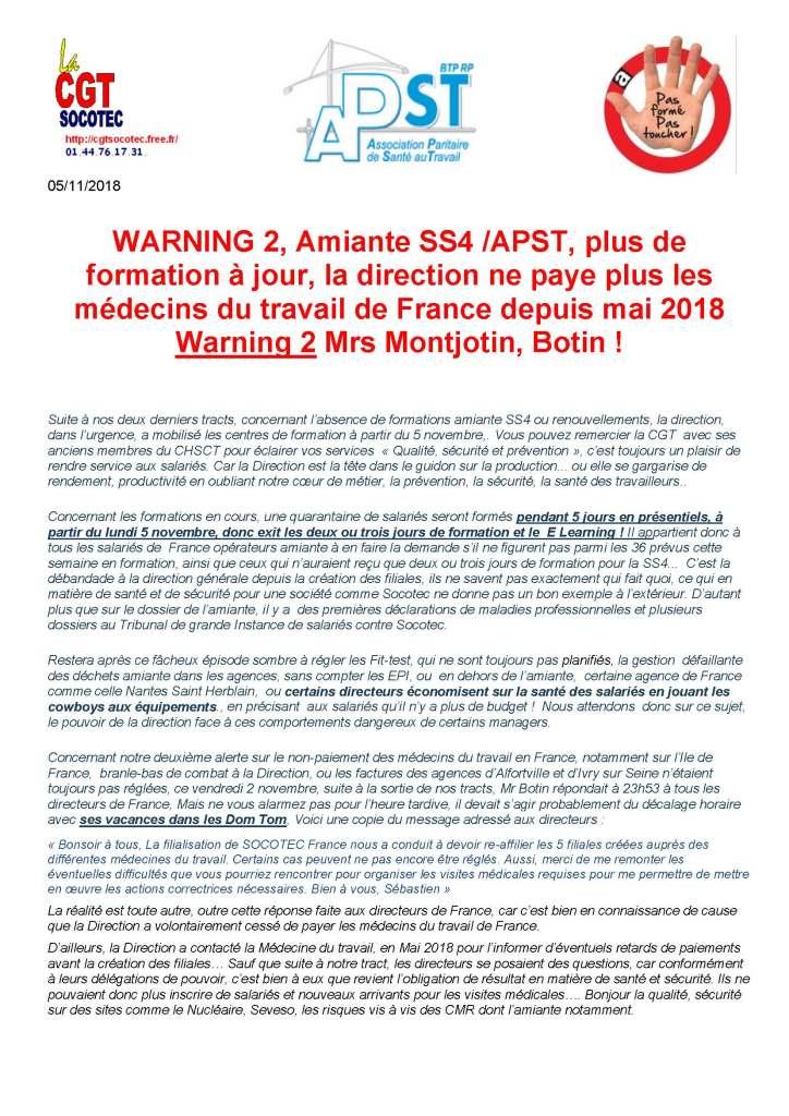 SOCOTEC : WARNING 2, Amiante SS4 /APST, plus de formation à jour