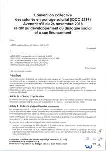 Avenant n°5 du 26 novembre 2018 relatif au développement du dialogue social et à son financement