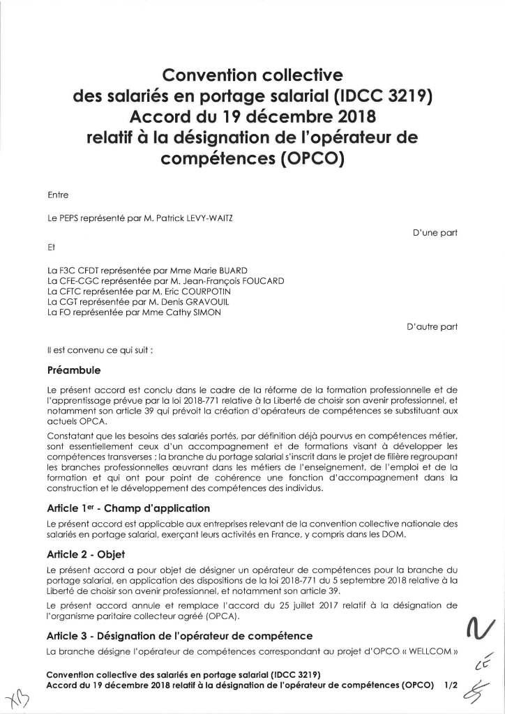 Accord du 19 décembre 2018 relatif à la désignation de l'opérateur de compétence (OPCO)