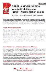ORANGE : Appel à mobilisation vendredi 14 décembre : Prime – Augmentation salaire