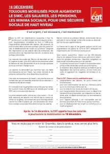 18 Décembre, toujours mobilisés pour augmenter le SMIC, les salaires, les pensions, les minimas sociaux, pour une Sécurité Sociale de haut niveau
