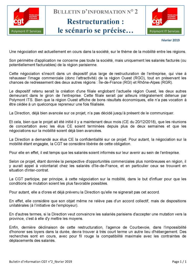 POLYMONT IT SERVICES : Bulletin d'information n°2