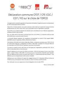 Déclaration commune CFDT / CFE-CGC / CGT / FO sur le choix de l'OPCO